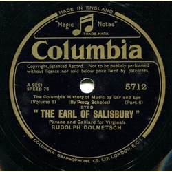 Rudolph Dolmetsch / Sir Richard Terry and Choir - The Earl of Salisbury / Sanctus from Missa Papae Marcelli (in Latin)