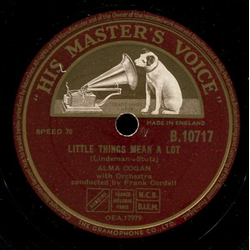 Alma Cogan - Canoodlin Rag / Little Things Mean a Lot