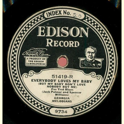 Georgia Melodians / Broadway Dance Orchestra - Everybody Loves My Baby (But My Baby dont Love Nobody But Me) / I Wonder whats Become of Sally? - Edison Diamond Disc