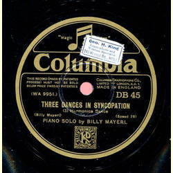 Piano Solo by Billy Mayerl - Three Dances In Syncopation: (1) English Dance, (2) Cricket Dance / Three Dances In Syncopation: (3) Harmonica Dance