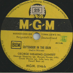 George Shearing Quintett - Bop, look and listen / September in the rain