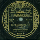 Sam Samsons-Orchester - Too beautiful to last / Minnie...