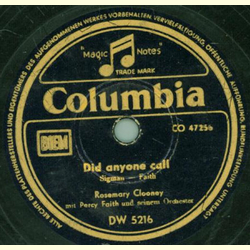 Rosemary Clooney - Did Anyone Call / Tenderly